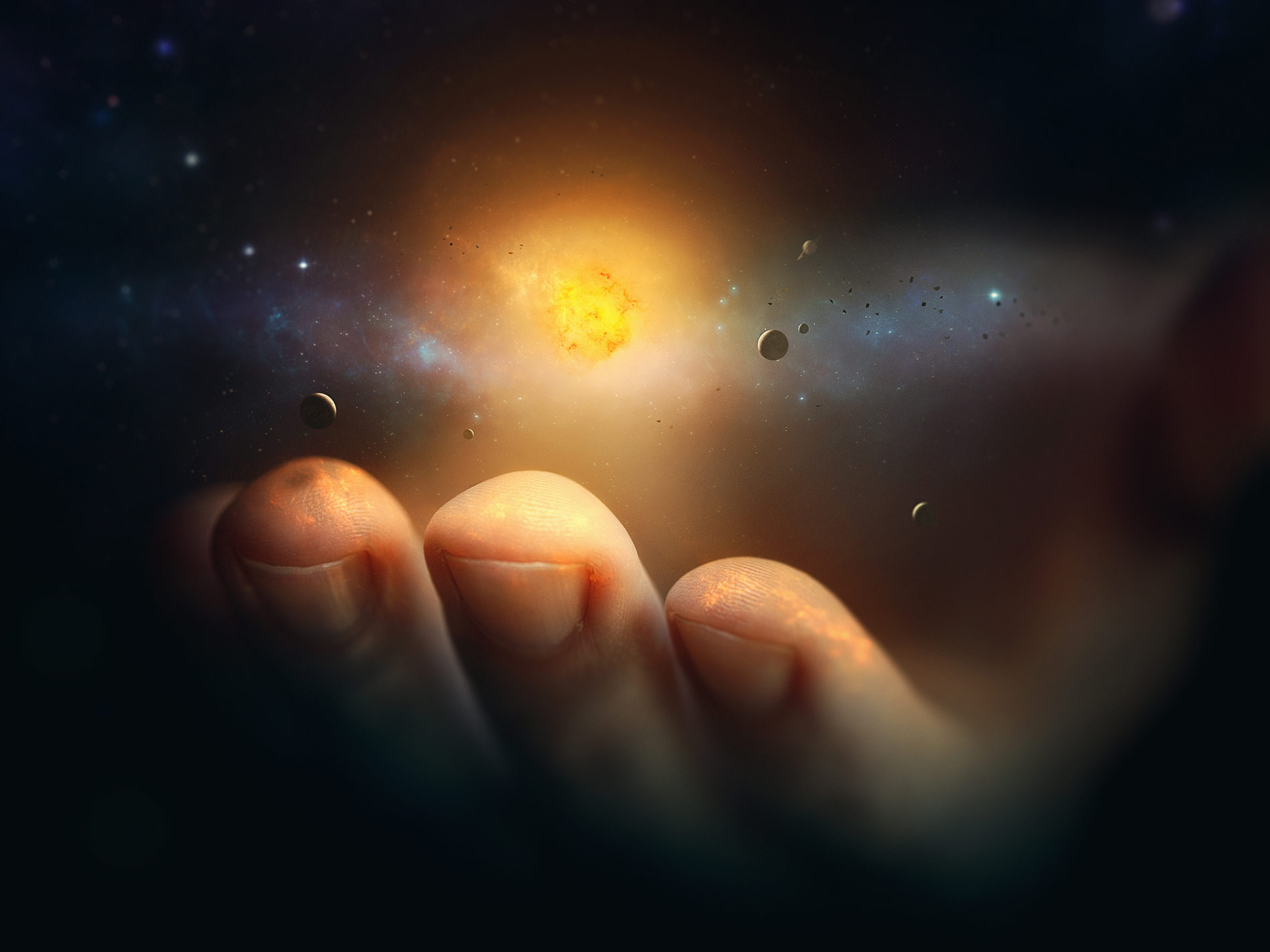 Hand holding the universe